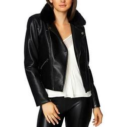 1.State Womens Fall Faux Leather Motorcycle Jacket Outerwear