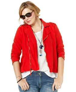 Lucky Brand 156784 Women's Motorcycle Jacket Plus Size Red S