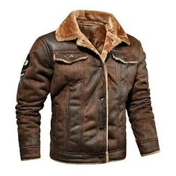 2020 New Men's Leather Jacket Youth Male Plus Velvet  Lapel