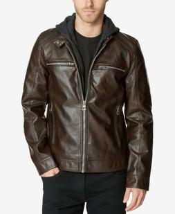 $225 GUESS Mens Faux-Leather Detachable-Hood Motorcycle Jack