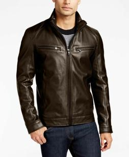$305 Michael Kors Mens Brown Faux-Leather Perforated Moto Ja