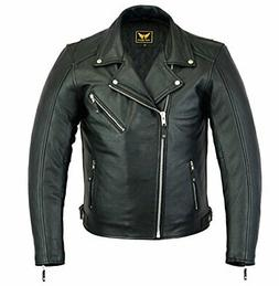A&H Apparel Mens Leather Motorcycle Jacket Genuine Cowhide Z