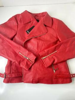 a.n.a womens plus faux leather motorcycle jacket 2X Red NEW