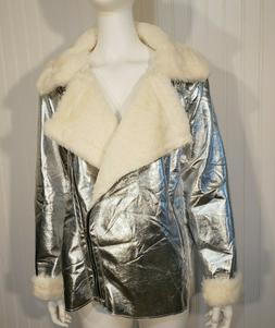 Sans Souci Anthropologie NWT Silver Faux Leather Shearling M