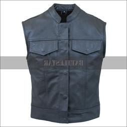 Battlestar New Black Trend Pure Leather Vest/ Jacket For Bik