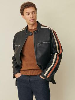 WILSONS LEATHER Big & Tall Motorcycle Faux-Leather Jacket wi