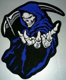 BLUE GRIM REAPER PATCH DEATH ANGLE FOR BIKER MOTORCYCLE JACK