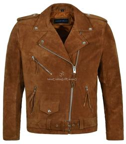 Brando Men's Real Leather Jackets TAN Suede  Motorcycle Styl