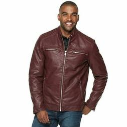 Burgundy XRAY Slim Fit Faux Leather Motorcycle Jacket LARGE