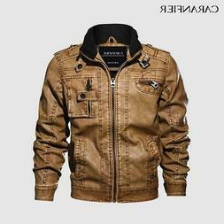 CARANFIER Mens Leather Jackets Motorcycle Stand Collar Zippe
