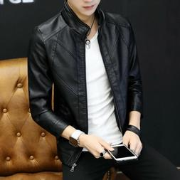 Casual men's leather jacket trend young handsome parker moto