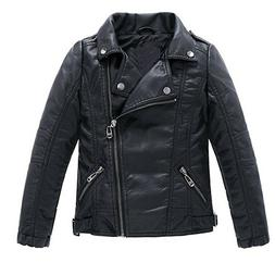 Children's Motorcycle Leather Jacket, Faux Leather Coat for