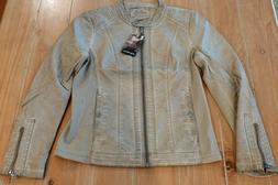 Sebby Collection Womens Faux-Leather Motorcycle Jacket, Ligh