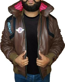 Cyberpunk 2077 Costume Jacket Mens Brown Leather Embroidery