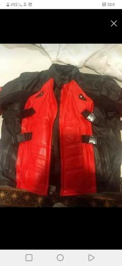 Deadpool mens motorcycle jacket armored leather xxl