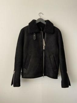 Allsaints Dekley Shearling Black Leather Jacket Size Small B