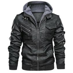 Denzell Outwear Anarchist Leather Jacket Hooded Motorcycle C