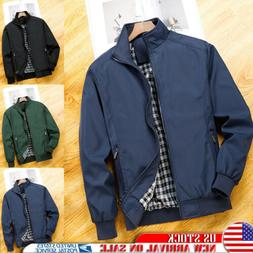 Fashion Mens Bomber Jacket Bike Motorcycle Coat Full Zip Wor