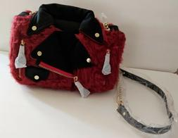 Red Faux Fur Motorcycle Biker Jacket Black Shoulder Handbag