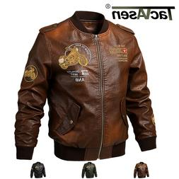 TACVASEN Faux Leather Mens Motorcycle Biker Coat Embroidery