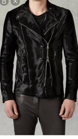 John Varvatos Collection Faux Pony Hair Biker Jacket. 56/XL.