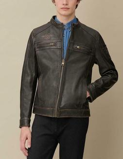 Gabe Jacket with Patches 100% Real Leather with Removable Co
