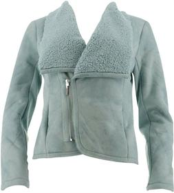 H Halston Faux Shearling Motorcycle Jacket Silver Sage 4 NEW