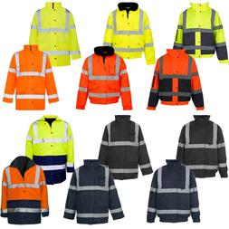 HI VIZ VIS JACKET HIGH VISIBILITY REFLECTIVE WATERPROOF WORK