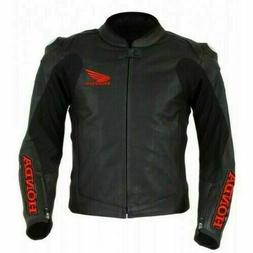HONDA BLACK  MOTORBIKE LEATHER JACKET CE APPROVED FULL PROTE