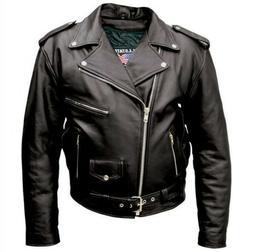 Allstate Leather Inc. Men′s Black Buffalo Leather Motorcyc