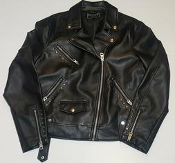 Guess Jet Black Rising Tiger Motorcycle Jacket Pleather Mens