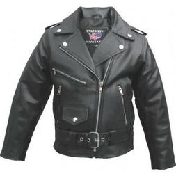 Kid's basic motorcycle jacket in Split Cowhide Leather With