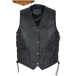 Kids Motorcycle Genuine Leather Regular Vest With Side Laces