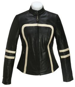 L Black Retro Women Real Leather Jacket Cafe Racer Motorcycl