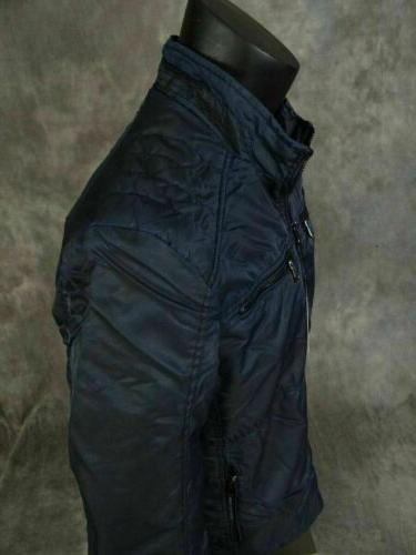 $120 Mens House of Lords Motorcycle Style Bomber Jacket Pockets Blue