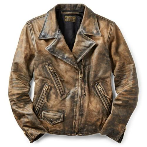 2400 limited edition distressed motorcycle leather jacket
