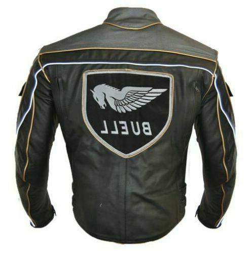 Buell Jacket / Grey Leather Jacket With Armour