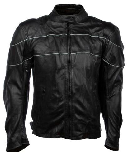 large mens black leather reflective motorcycle riding