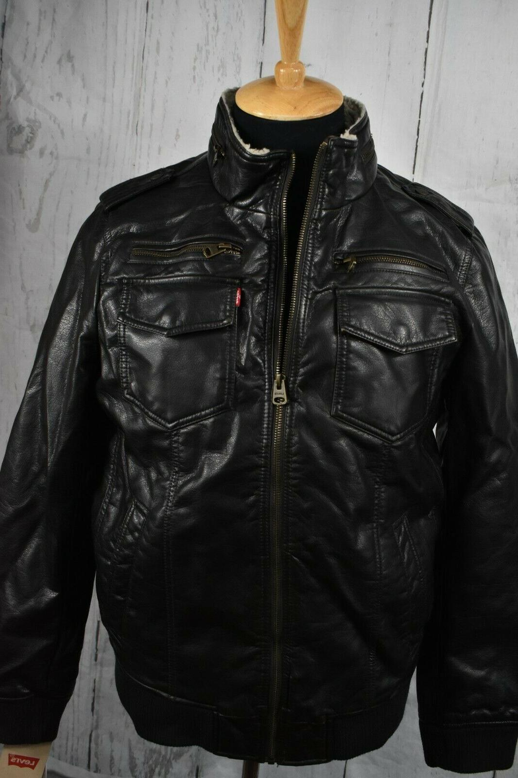 Levi's Men's Sherpa Lined Faux Leather Jacket Size S