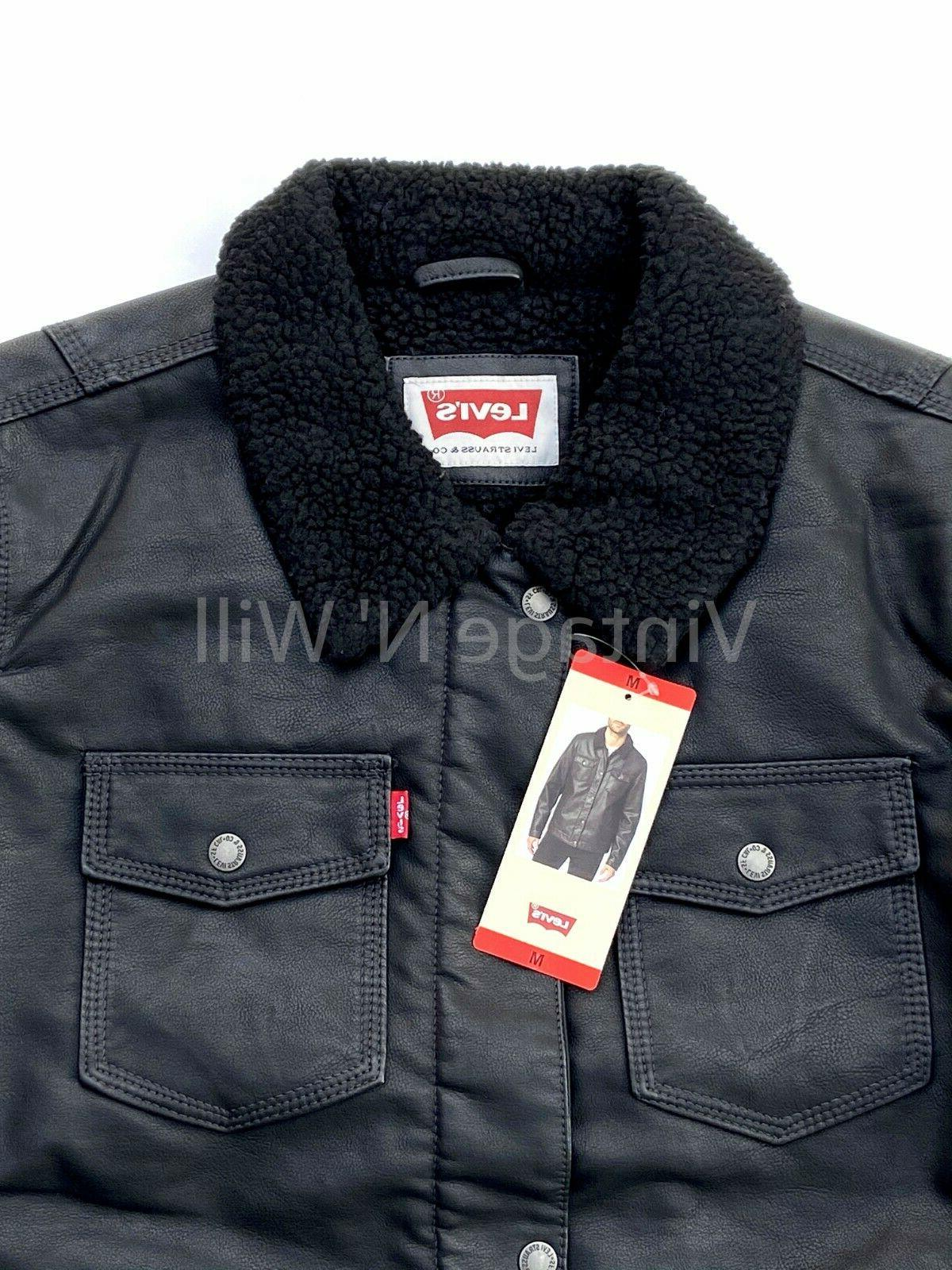 Levis Tab Mens Faux Leather Sherpa Lined Winter Jacket