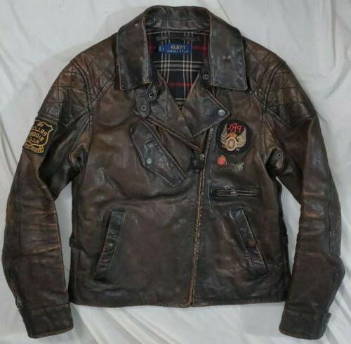 limited edition motorcycle patch biker leather jacket