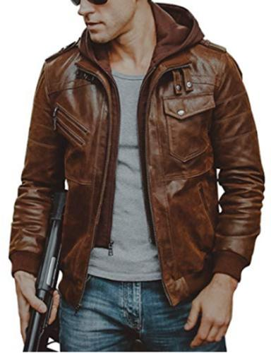 Men Motorcycle Jacket with Removable Hood