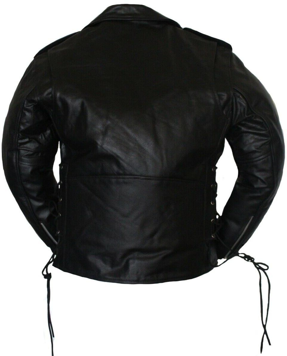 Men Motorcycle Classic Laces Leather Jacket