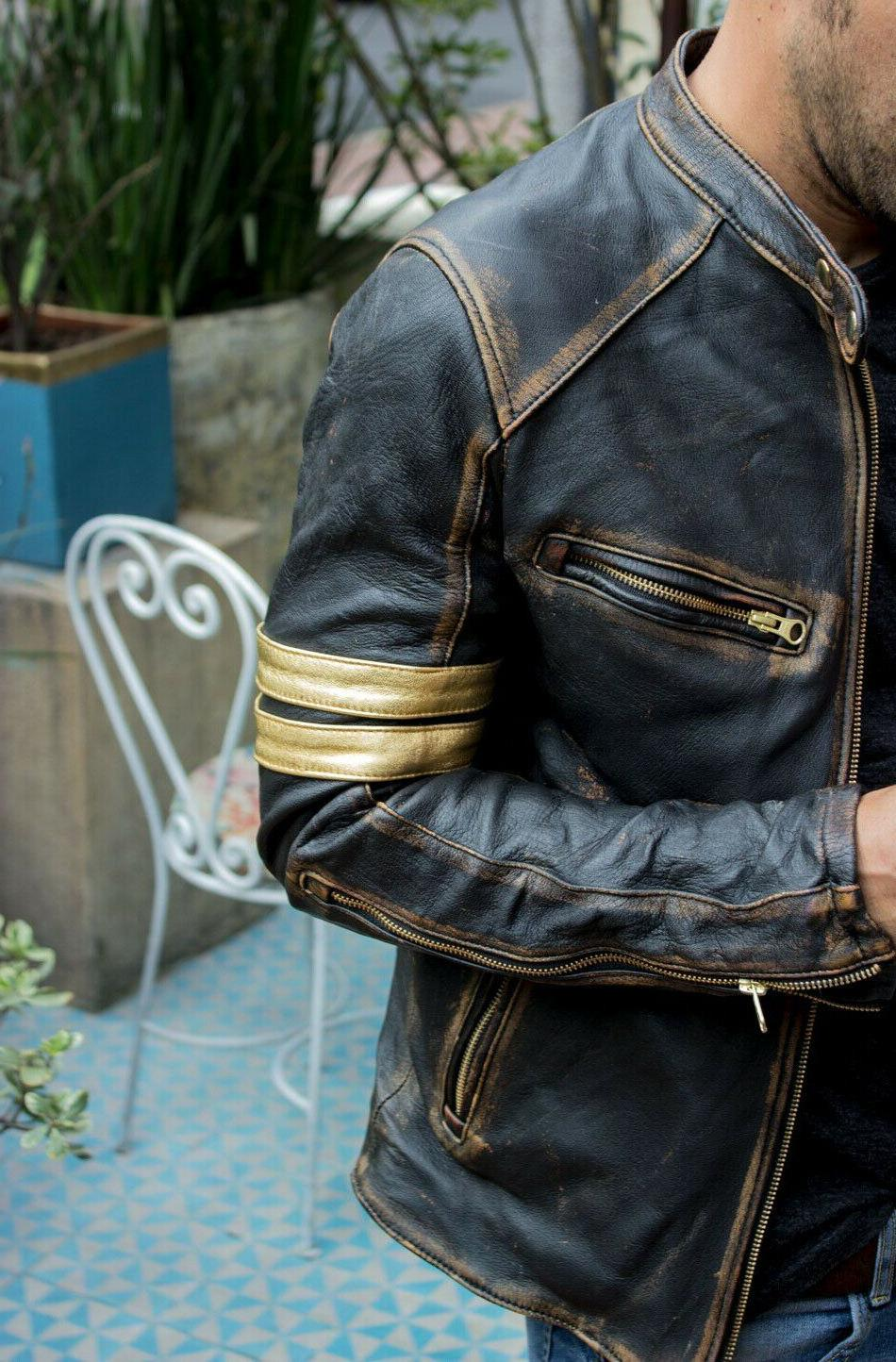 Men's Cafe Distressed Real Leather Jacket