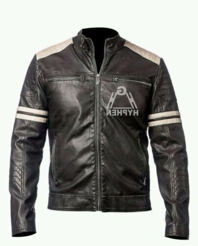 men s black motorcycle brando cowhide biker