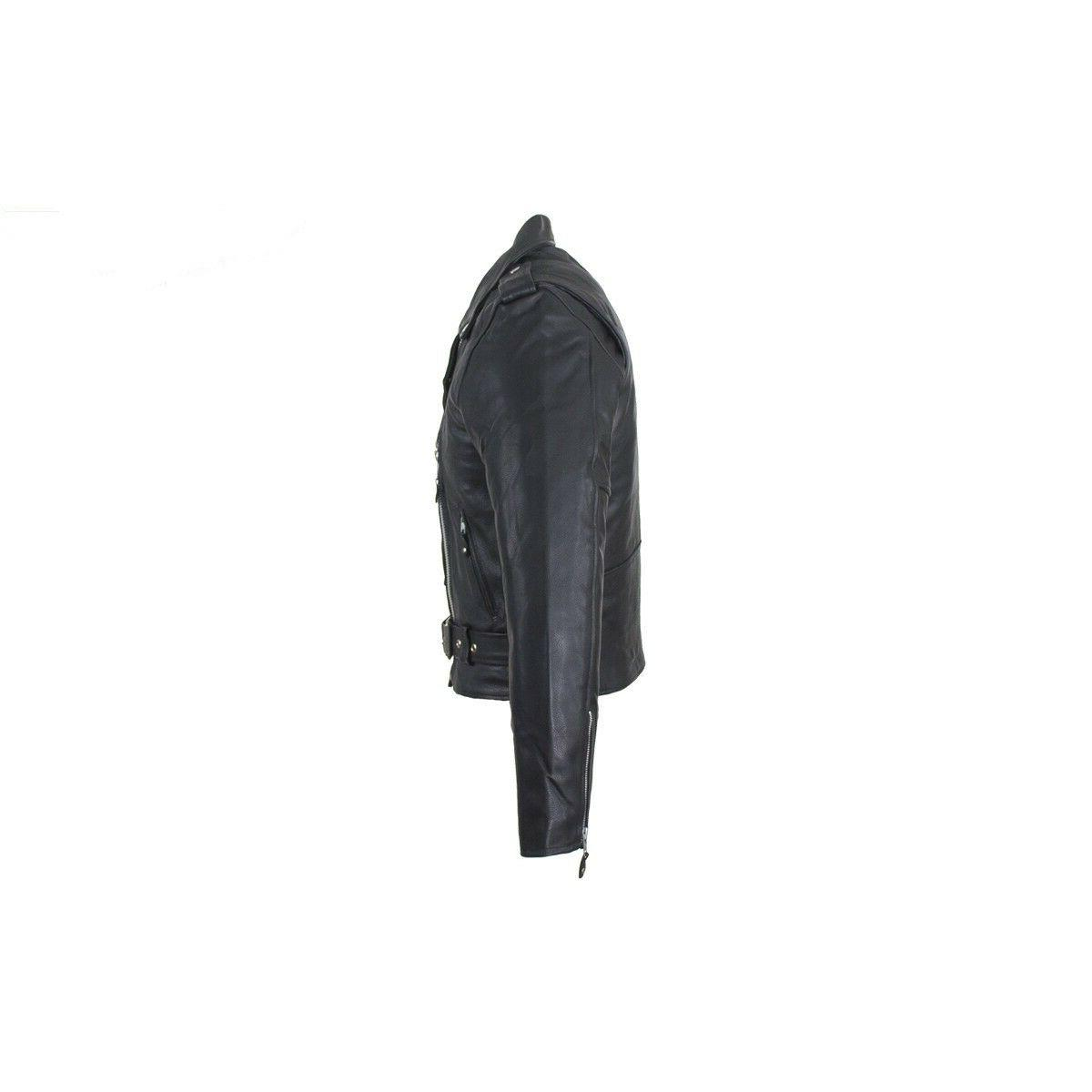 Mens Classic Black Leather Motorcycle