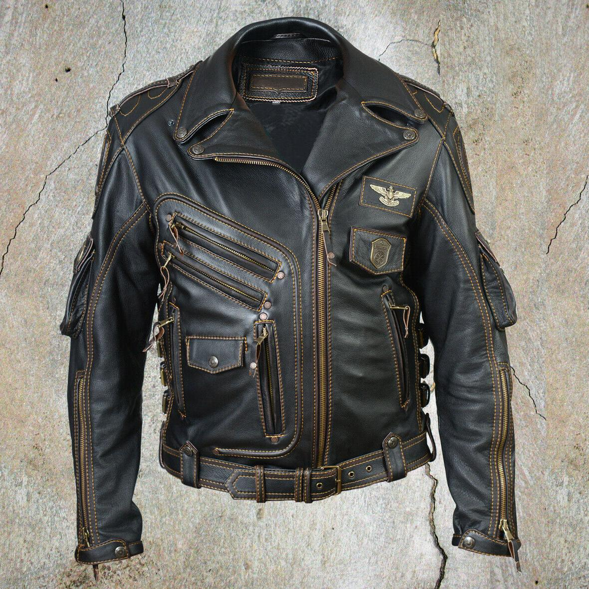 men s genuine cowhide leather motorcycle biker