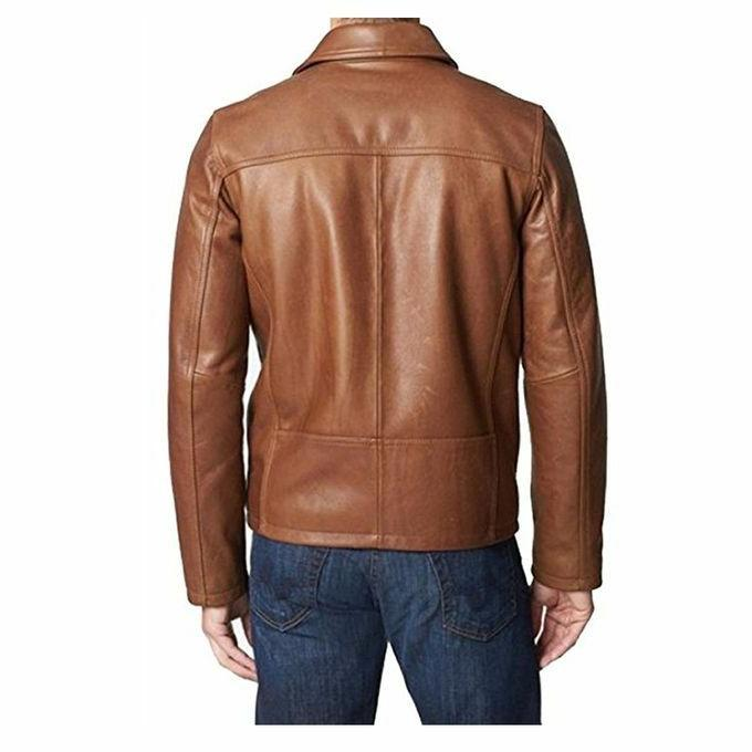 Mens Biker Brown Real Leather