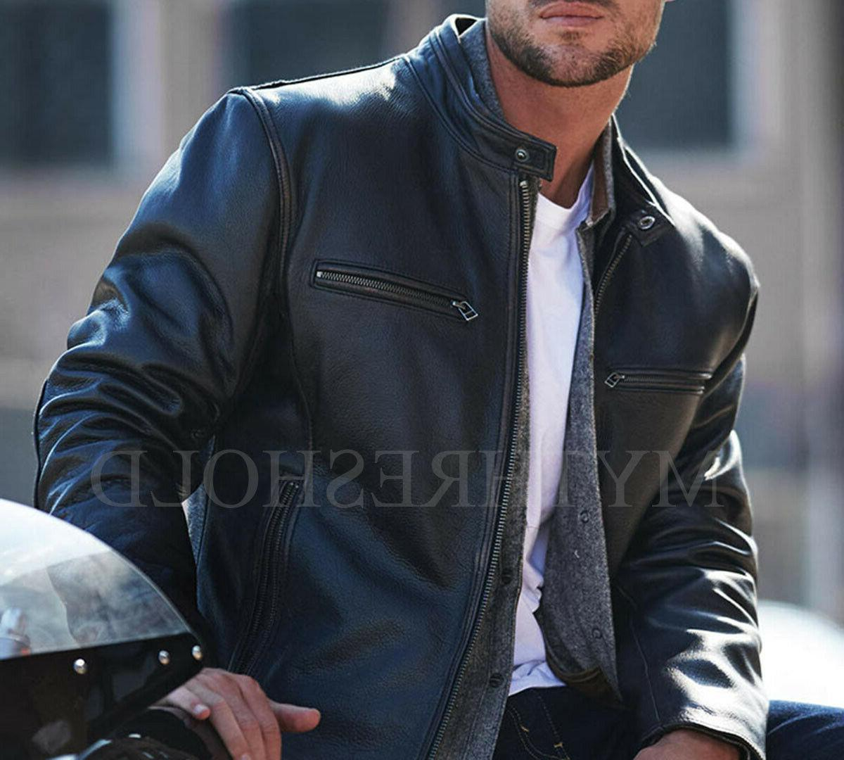 Mens Motorcycle Cafe Racer Black Leather