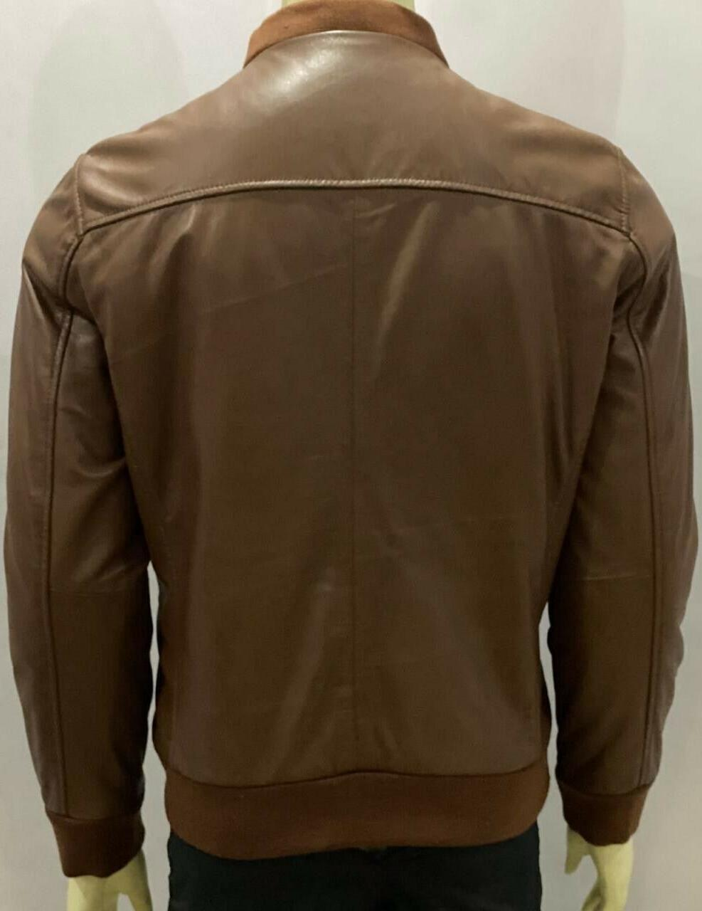 MENS BROWN GENUINE BOMBER LEATHER